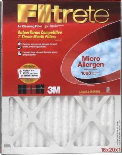 3M Furnace Filter 16x25x1 Dust Reduction 1000